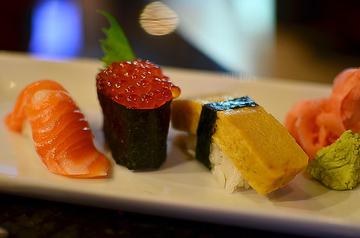 Left to right: misosalmon, ikura (salmon roe), tamago (sweet egg omelette)