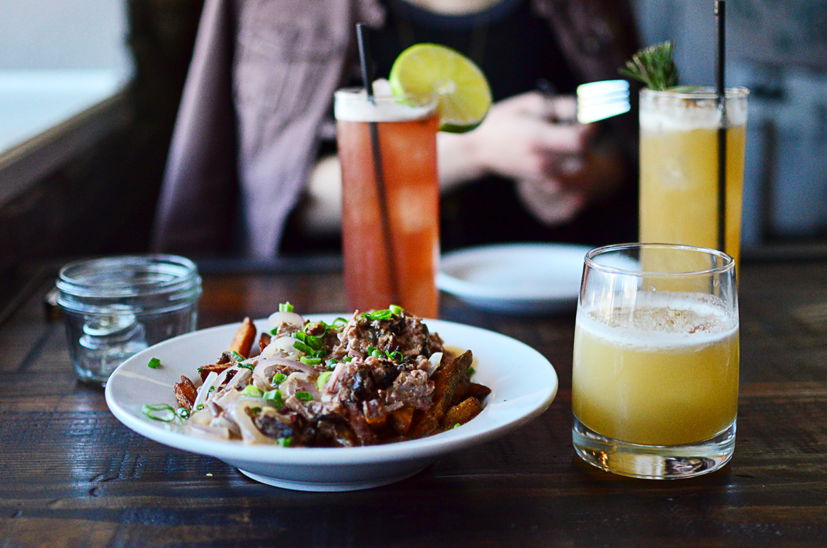 Brisket poutine and cocktails (Angels and Demons, Rosemary's Burden, and Dawsonville's Creek)