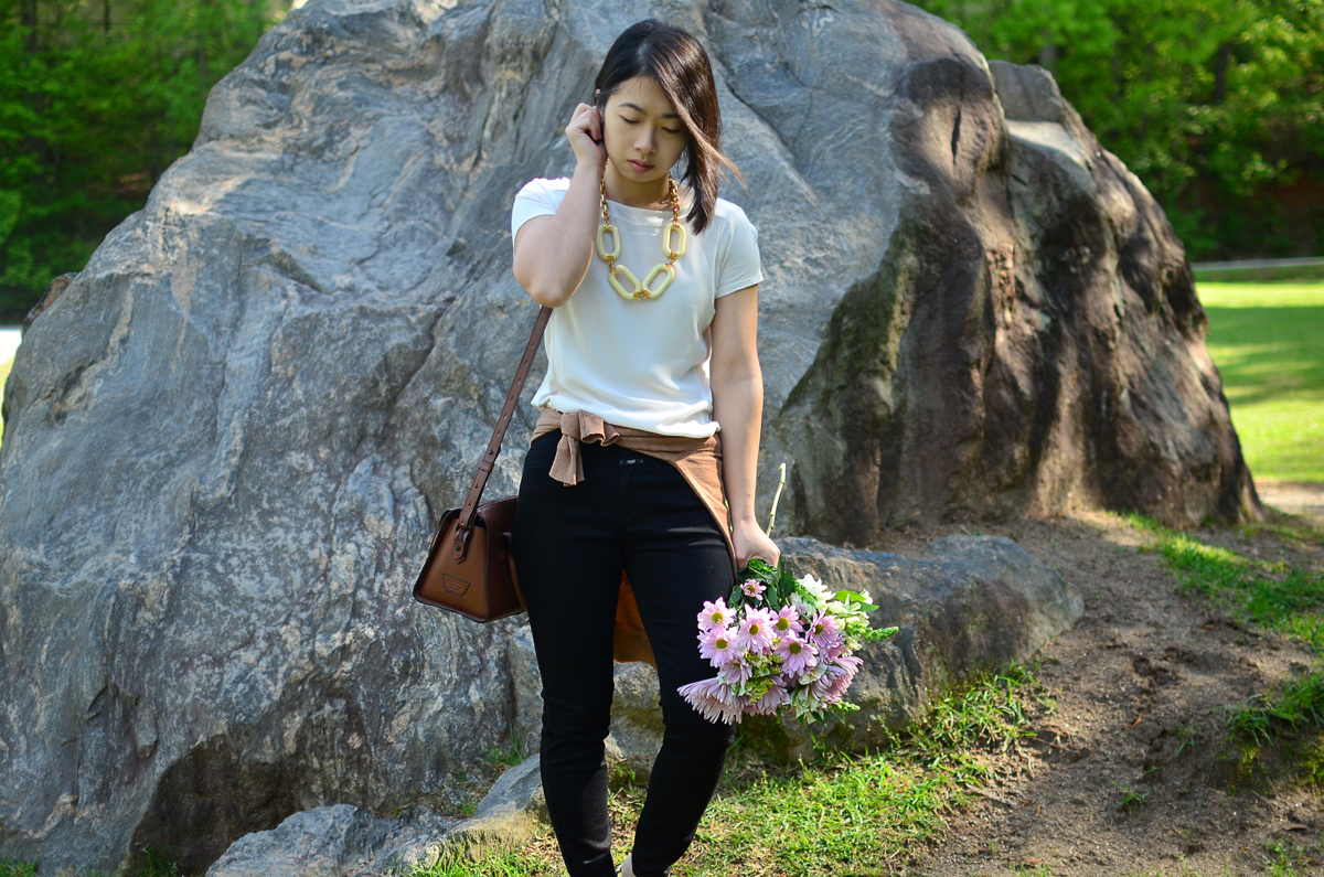 Wearing neutral colors with Ann Taylor, Closed Denim, J.Crew, iiibeca, and Kenneth Jay Lane.