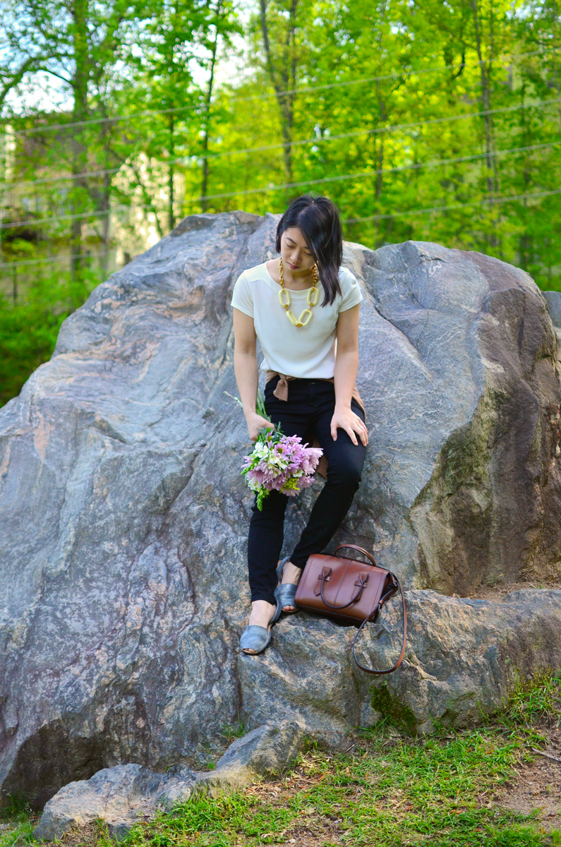 Neutral outfit with Kenneth Jay Lane statement necklace.