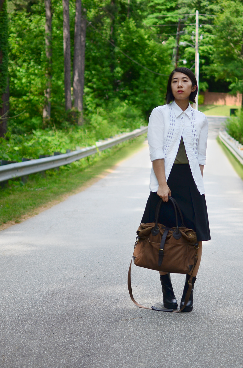 School inspired outfit featuring aTibi stitched top, Theory midi skirt, Pierry Hardy boots, and a J.Crew laptop bag