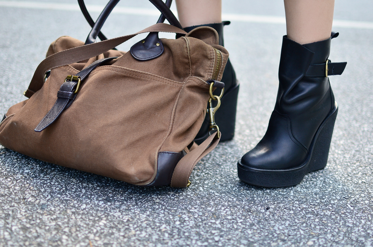 Pierre Hardy leather boot wedges and J.Crew men's laptop bag