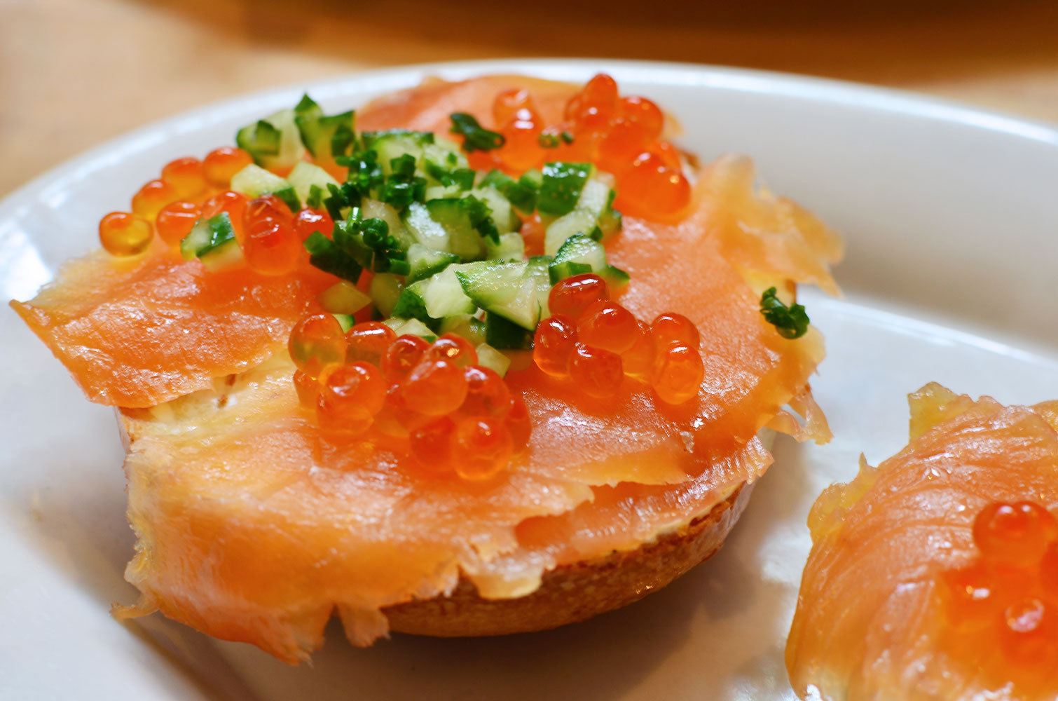 The Avenue D.  Bagel with lox, schmear, roe, cucumber, and chives