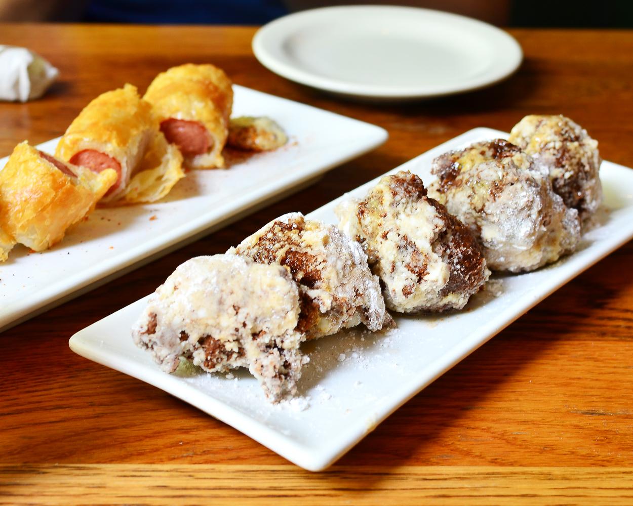Folk Art - Sweet Potato Beignets and the I Dream of Weenie (pigs in a blanket)