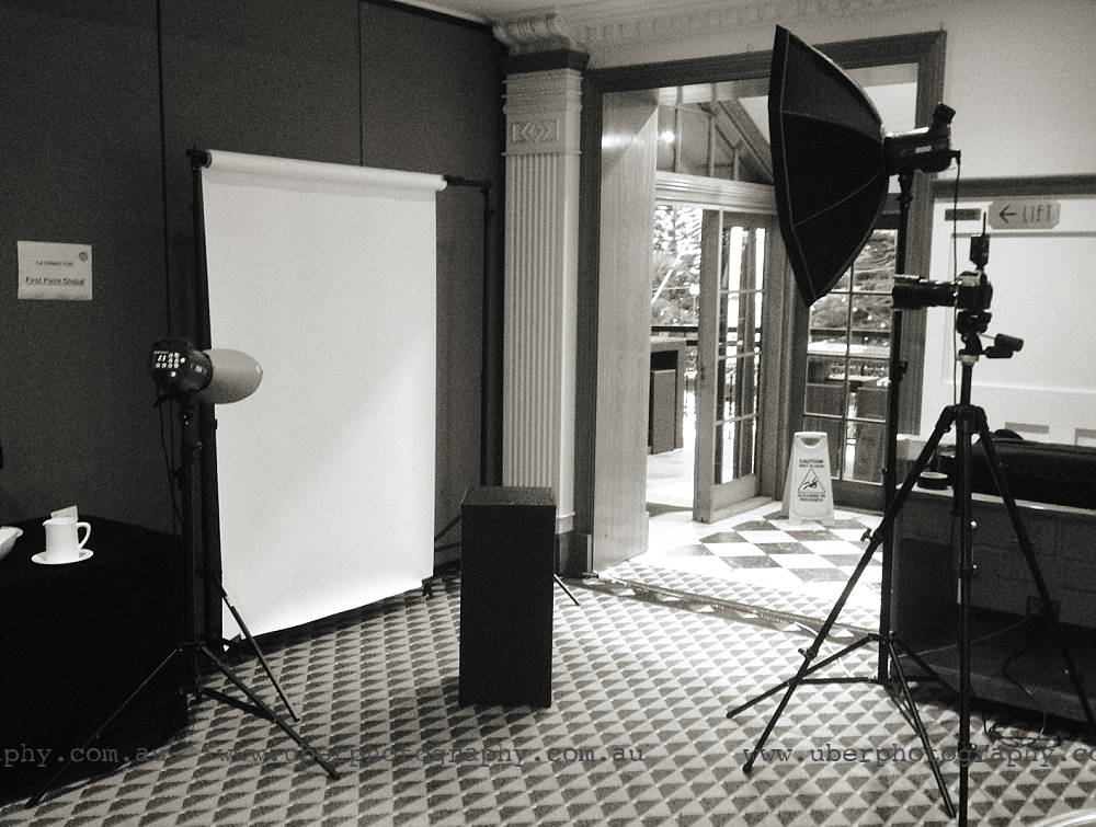 A quick behind the scenes shot of how we set up our mobile studio in a hotel lobby.