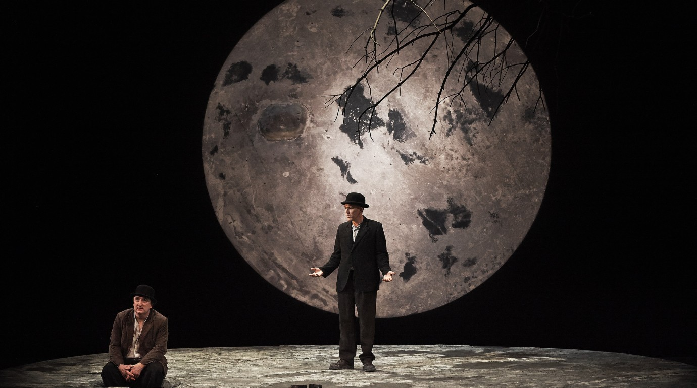 Gary Lydon (Estragon) and Conor Lovett (Vladimir) in the Gare St Lazare Players Ireland production of Waiting For Godot by Samuel Beckett. Directed by Judy Hegarty Lovett
