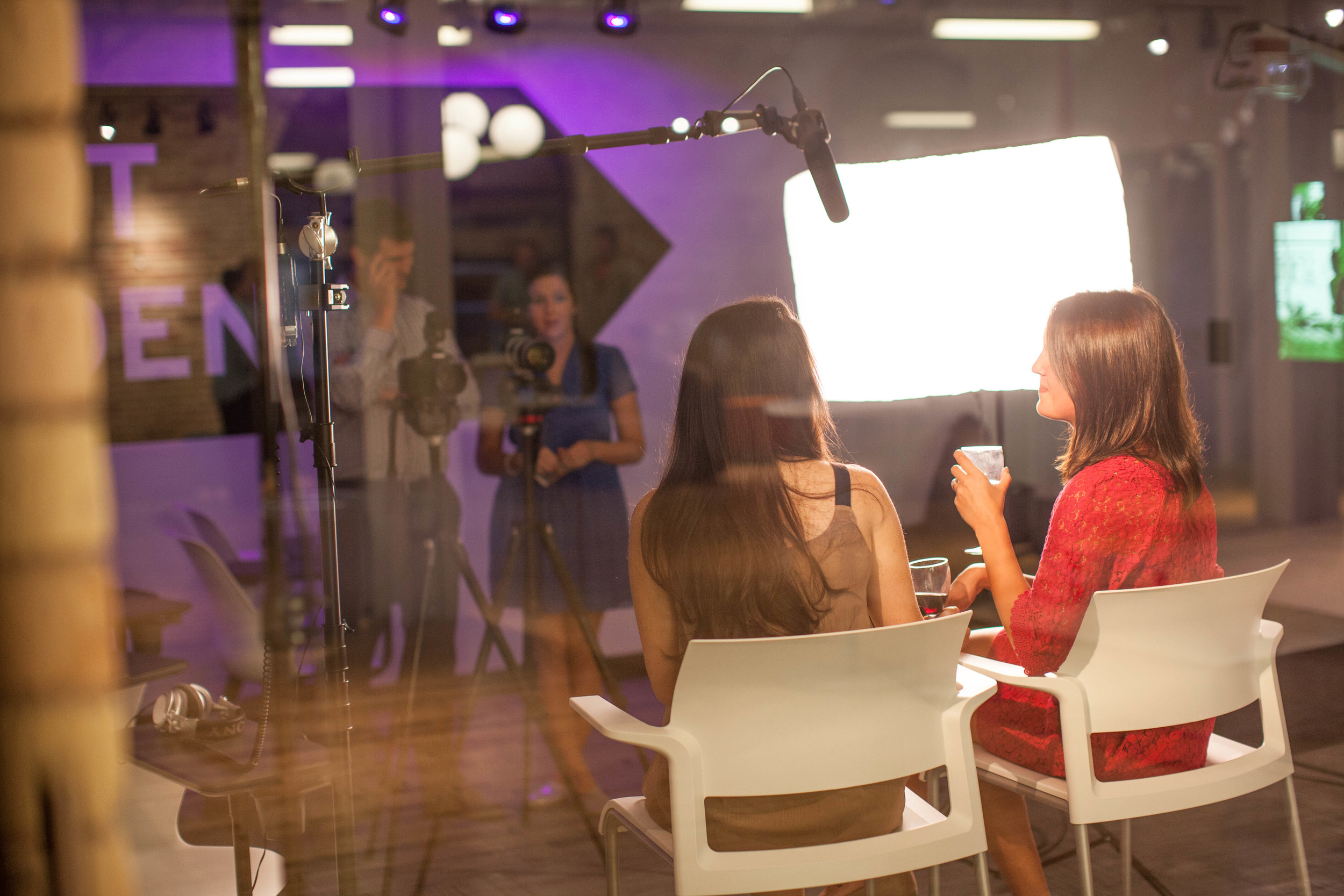 BRIAN AND STACEY INTERVIEWING BRIDESMAIDS CHELSEA AND AMANDA. PHOTO BY JAMES RICHARD FRY.