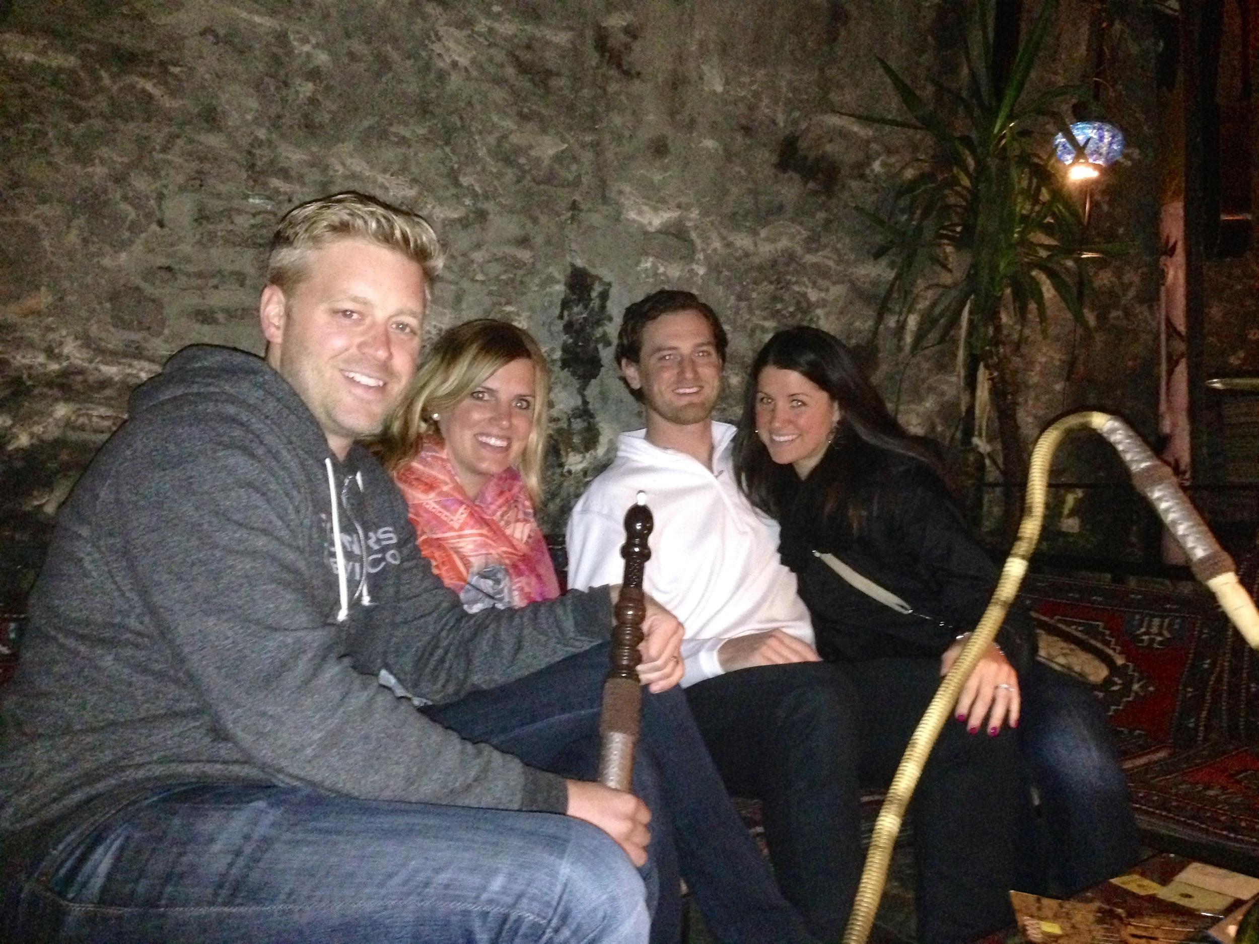 Josh, Emily, Jeff, and Nichole smoking hookah in Istanbul, Turkey