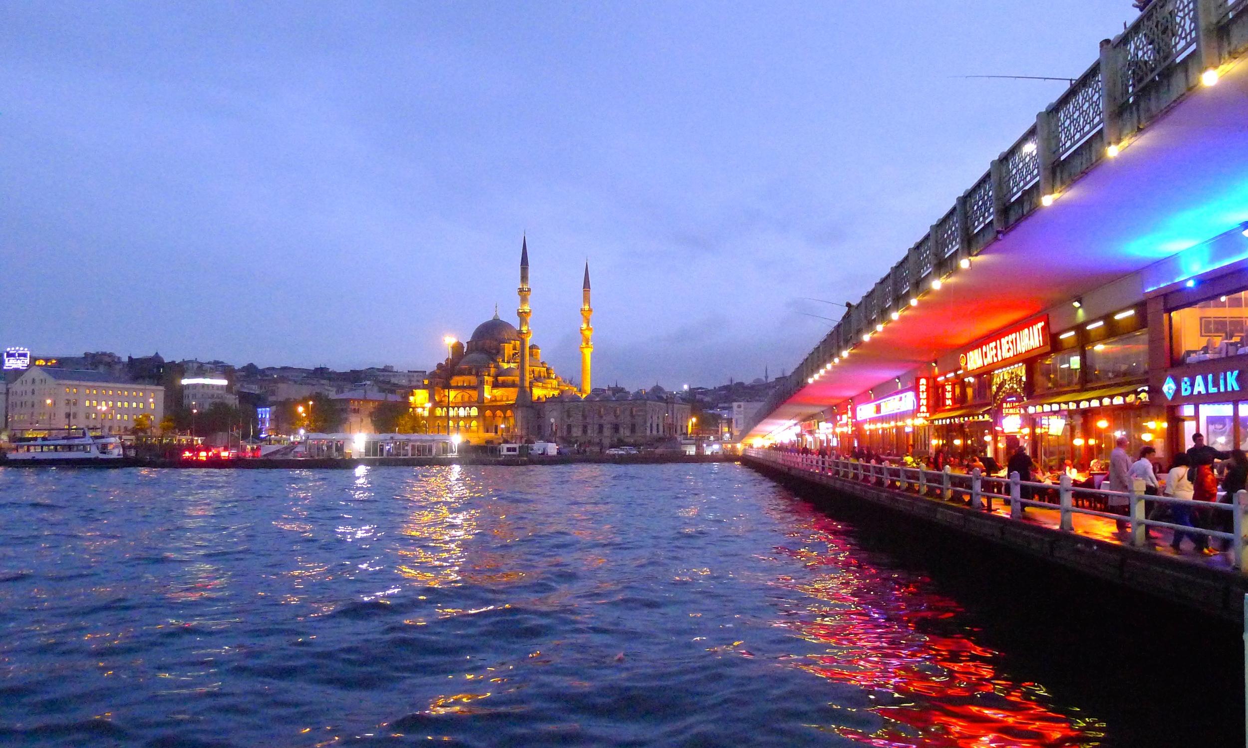 The Galata Bridge in Istanbul, Turkey.