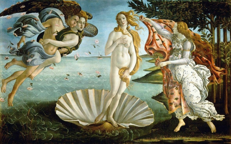 The Birth of Venus by Botticelli housed at the Uffizi Gallery in Florence, Italy.
