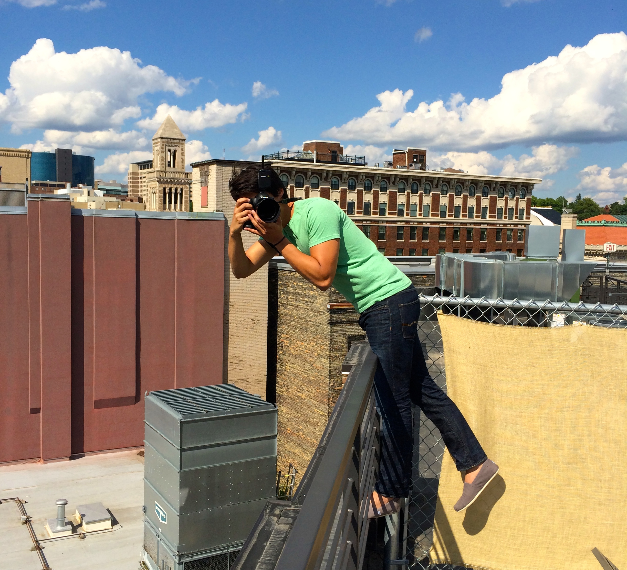 James in action on the rooftop at 616 Loft at the Kendall Building.