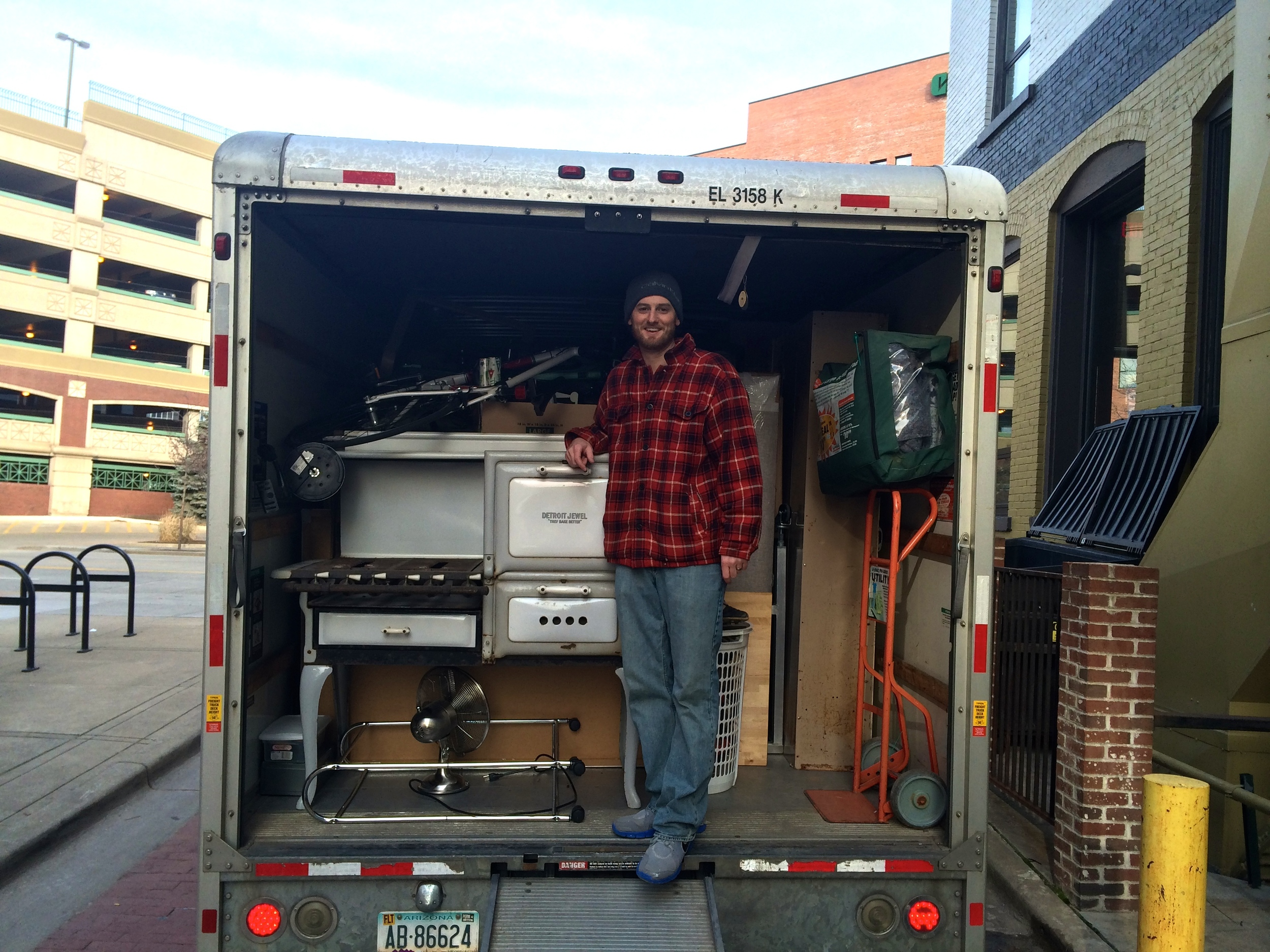 Moving Day! Jeff and his proudly packed Uhaul. Photo Credit: Charlie DeWitte.