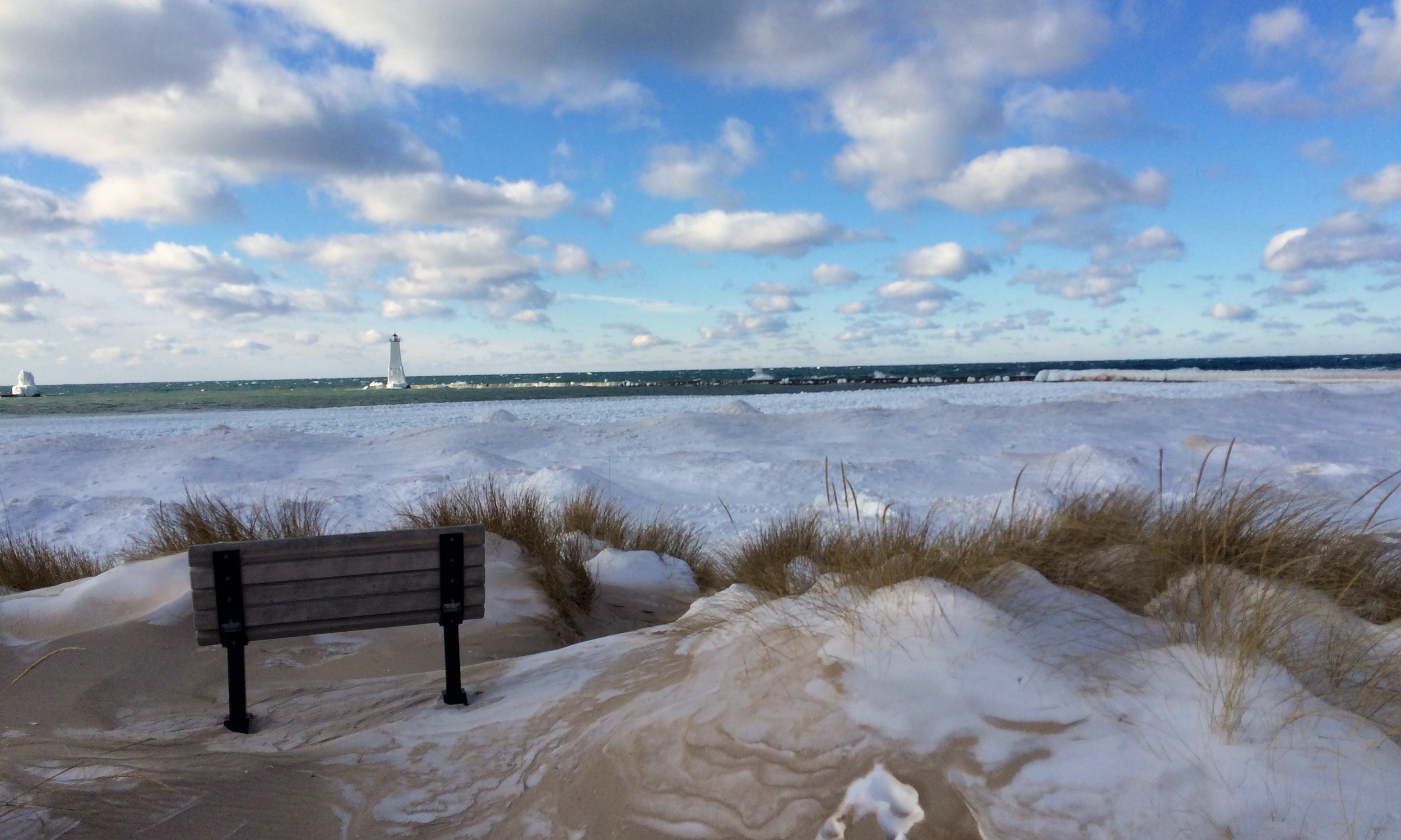 Lake Michigan coastline off Frankfort Harbor, January 2015.