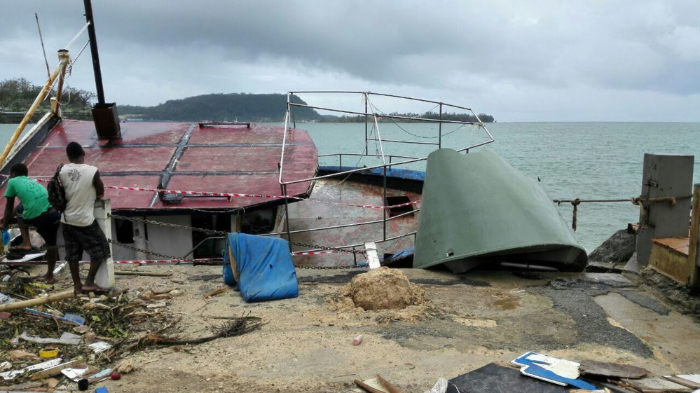 The harbor in Port Vila, Vanuatu after Cyclone Pam passed through.
