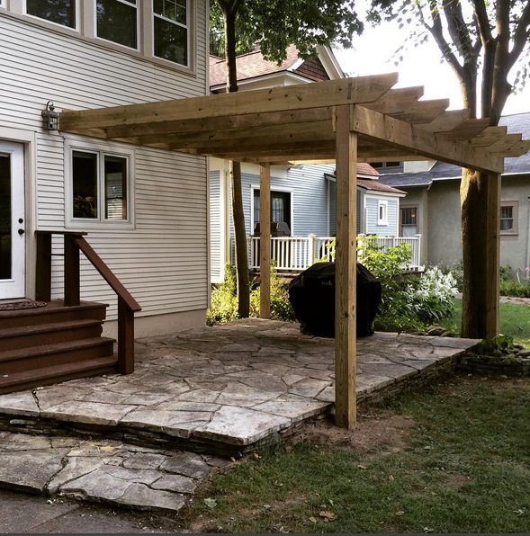The backyard is slowly coming together. The pergola framed in the patio and now awaits planters, party lights, and freshly painted steps.