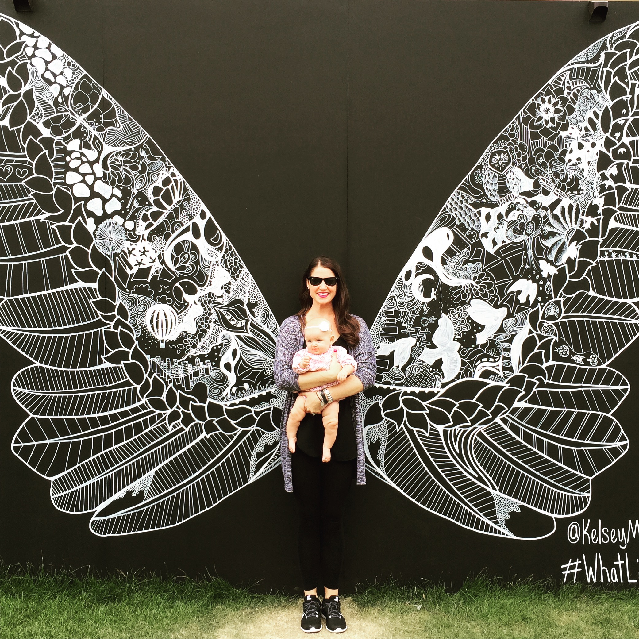Me and Natalie exploring ArtPrize this past weekend. Pay special attention to Nat's leg rolls :) This photo cuts it off, but the art work is #WhatLiftsYou by @KelseyMontagueArt.