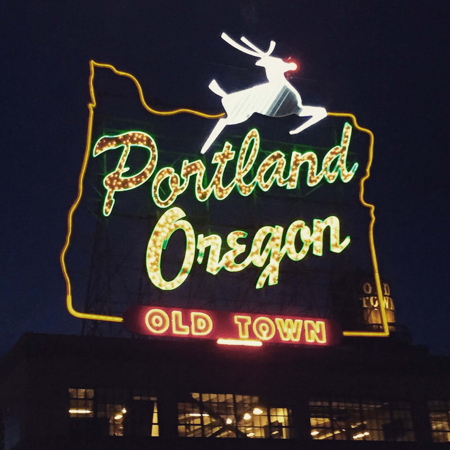 Portland Oregon sign in Old Town.