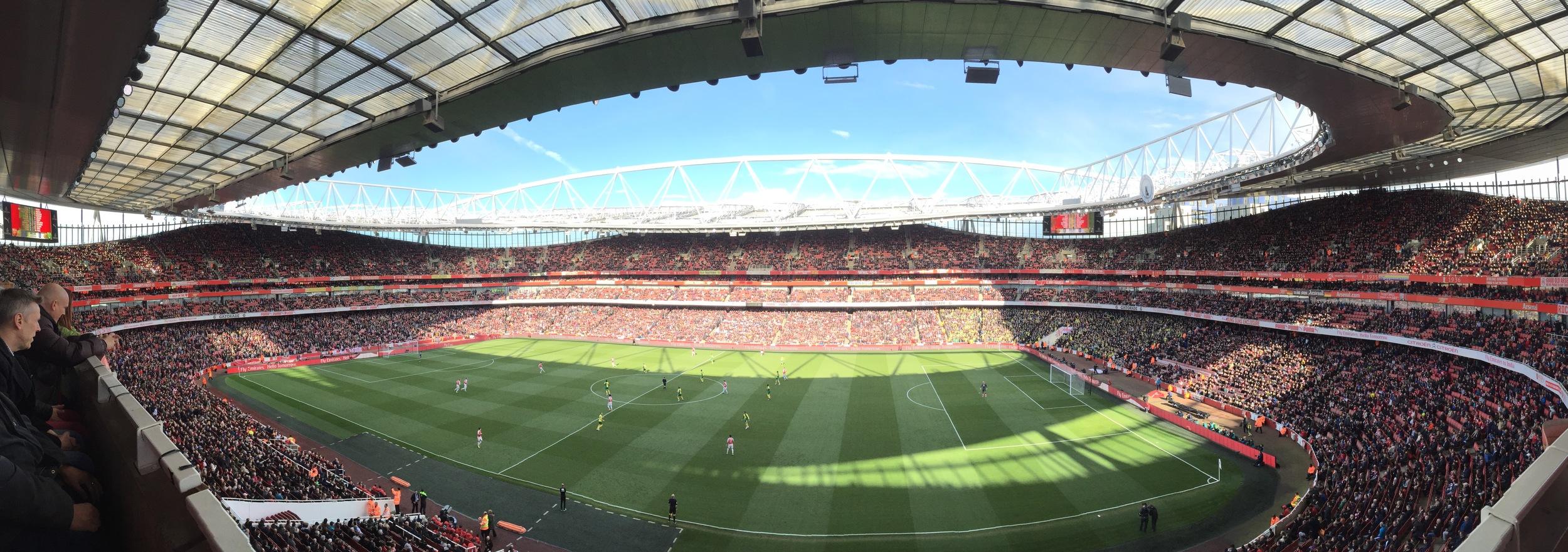 Emirates Stadium watching Arsenal Football in London, England.