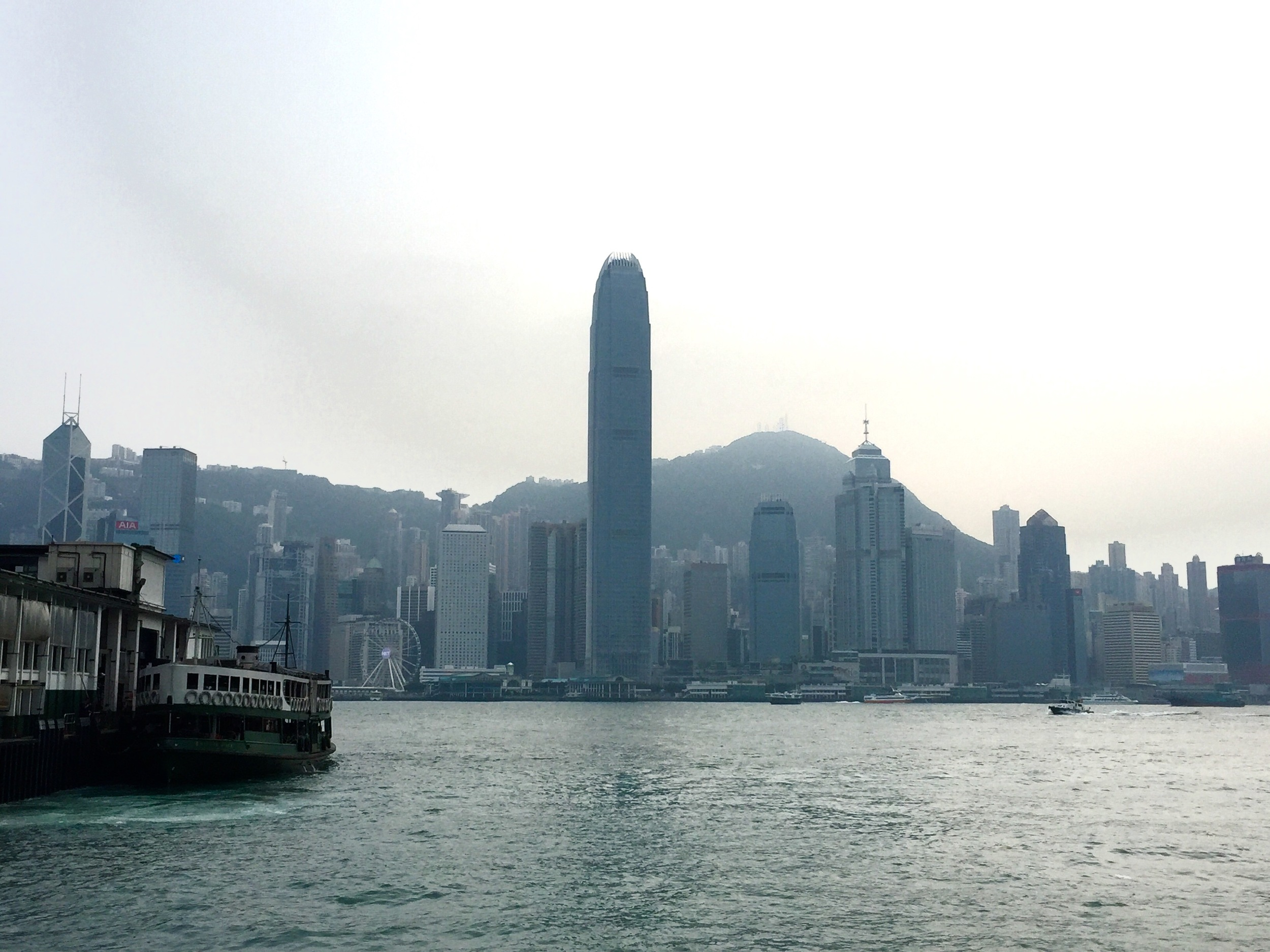 Kowloon Island looking back onto Hong Kong Island with the Star Ferry to the left of the photo.