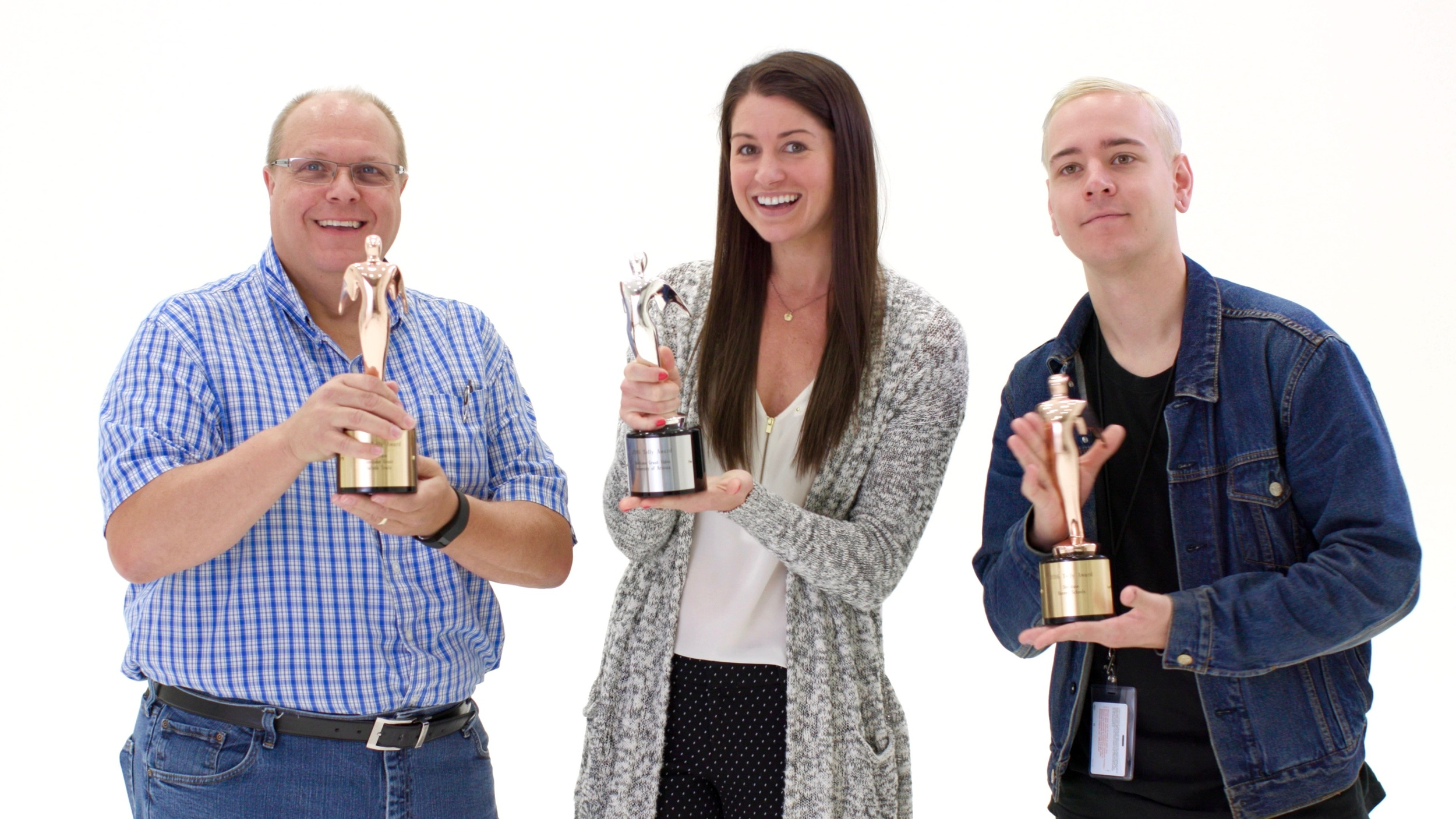 The Steelcase Video Team: Mark, Me, Kevin, with our Telly's; credit to partners Ideology.