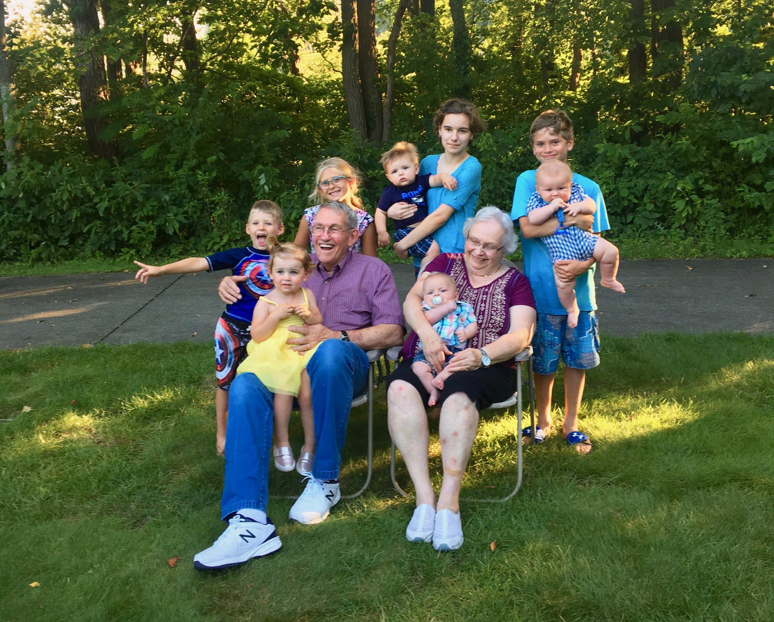 Grandma and Grandpa DeKoekkoek with all their GREAT grandkids this week.