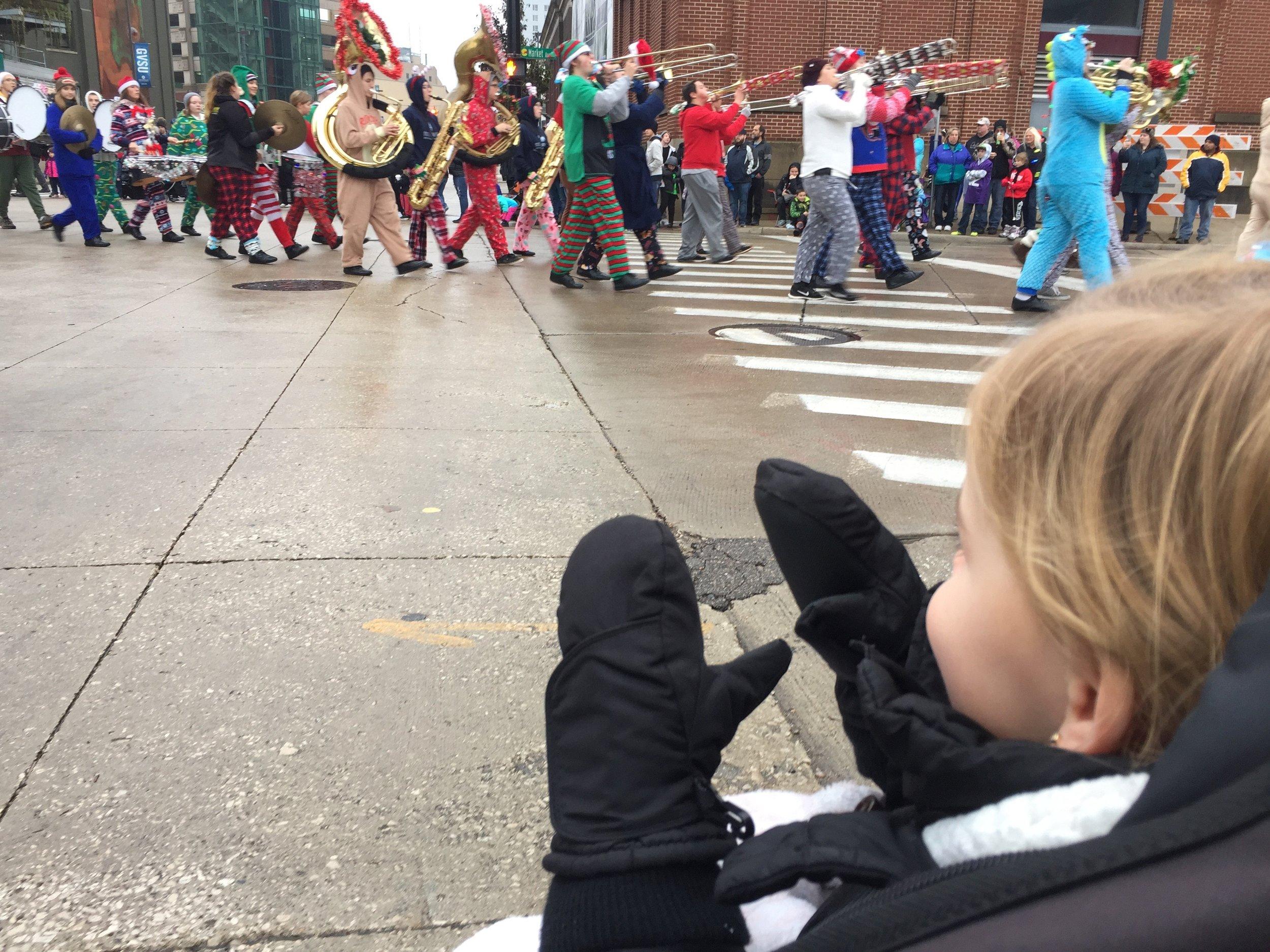 Natalie at the Art Van Santa Parade in downtown Grand Rapids.