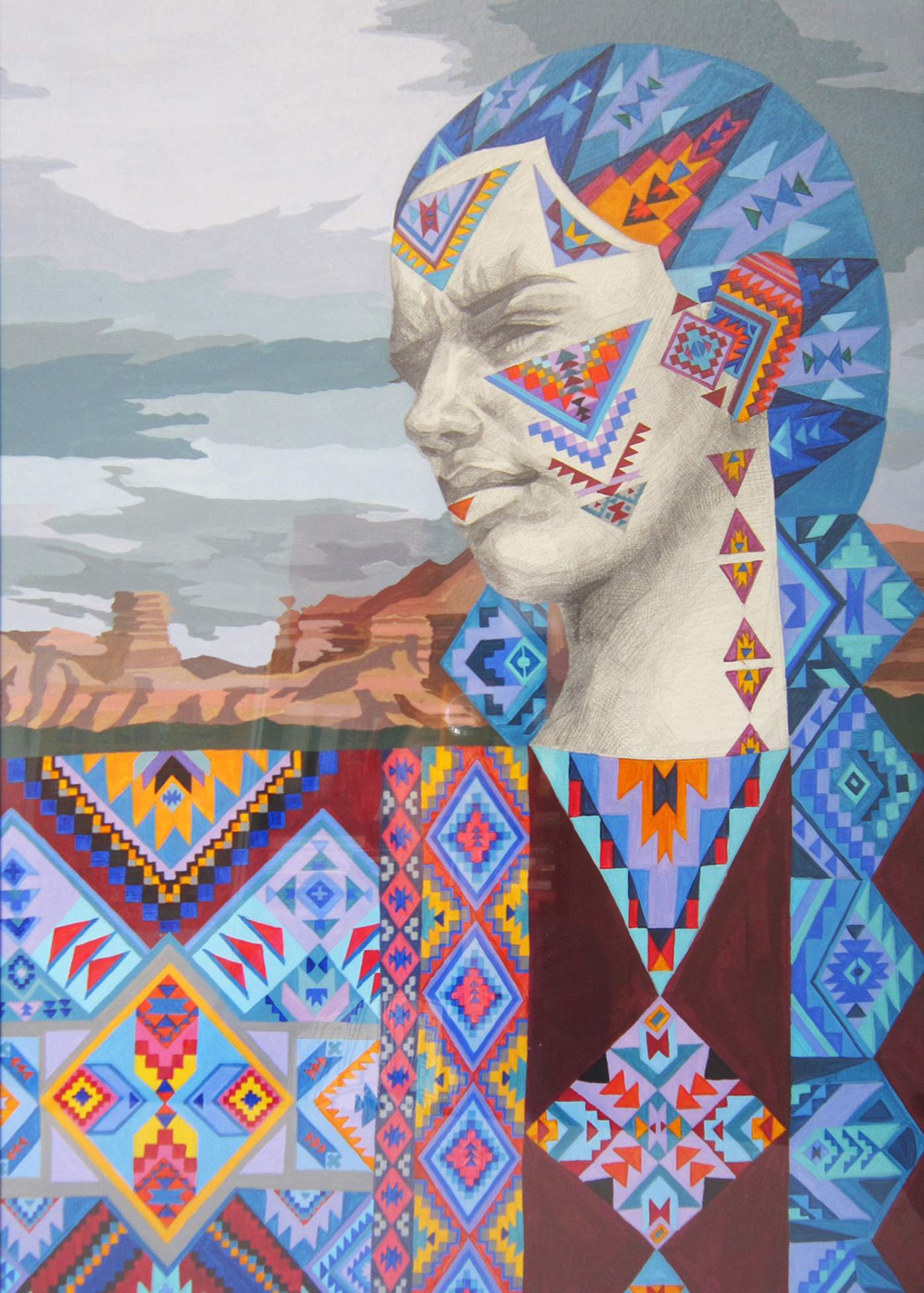 Sold - Tribeswoman with blue hair