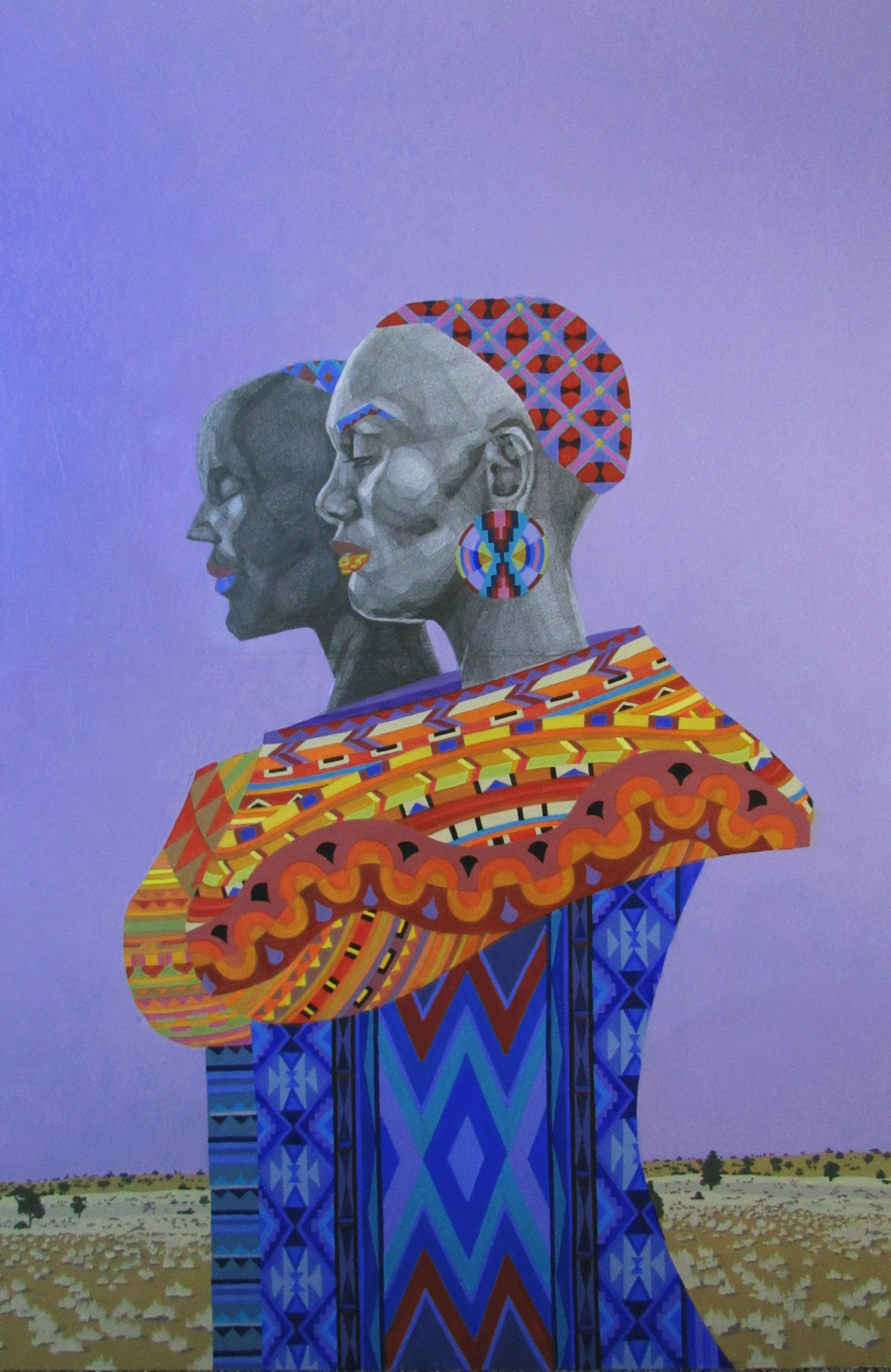 Two women walking in the desert