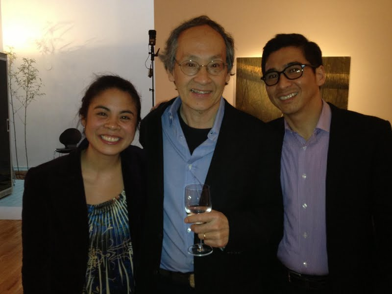 Kundiman Co-Founders Sarah Gambito and Joseph O. Legaspi with Poets & Writers' Jackson Prize Honoree and Kundiman Faculty Arthur Sze (center).