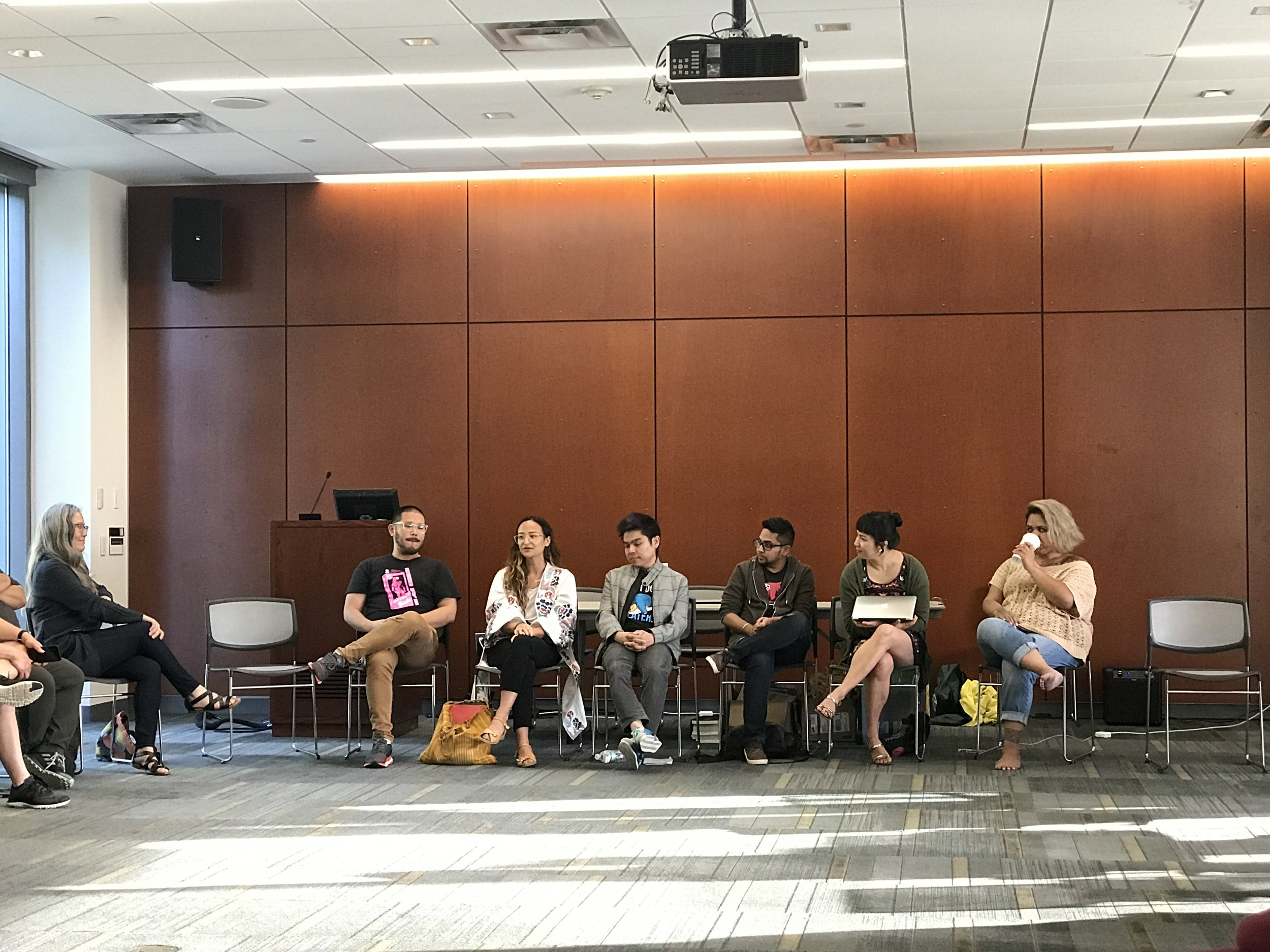 Dan Lau, Kyle Lucia Wu, Duy Doan, Jai Dulani, Cathy Linh Che, and Terisa Siagatonu presenting the Writing, Professionalization, and Community Seminar!