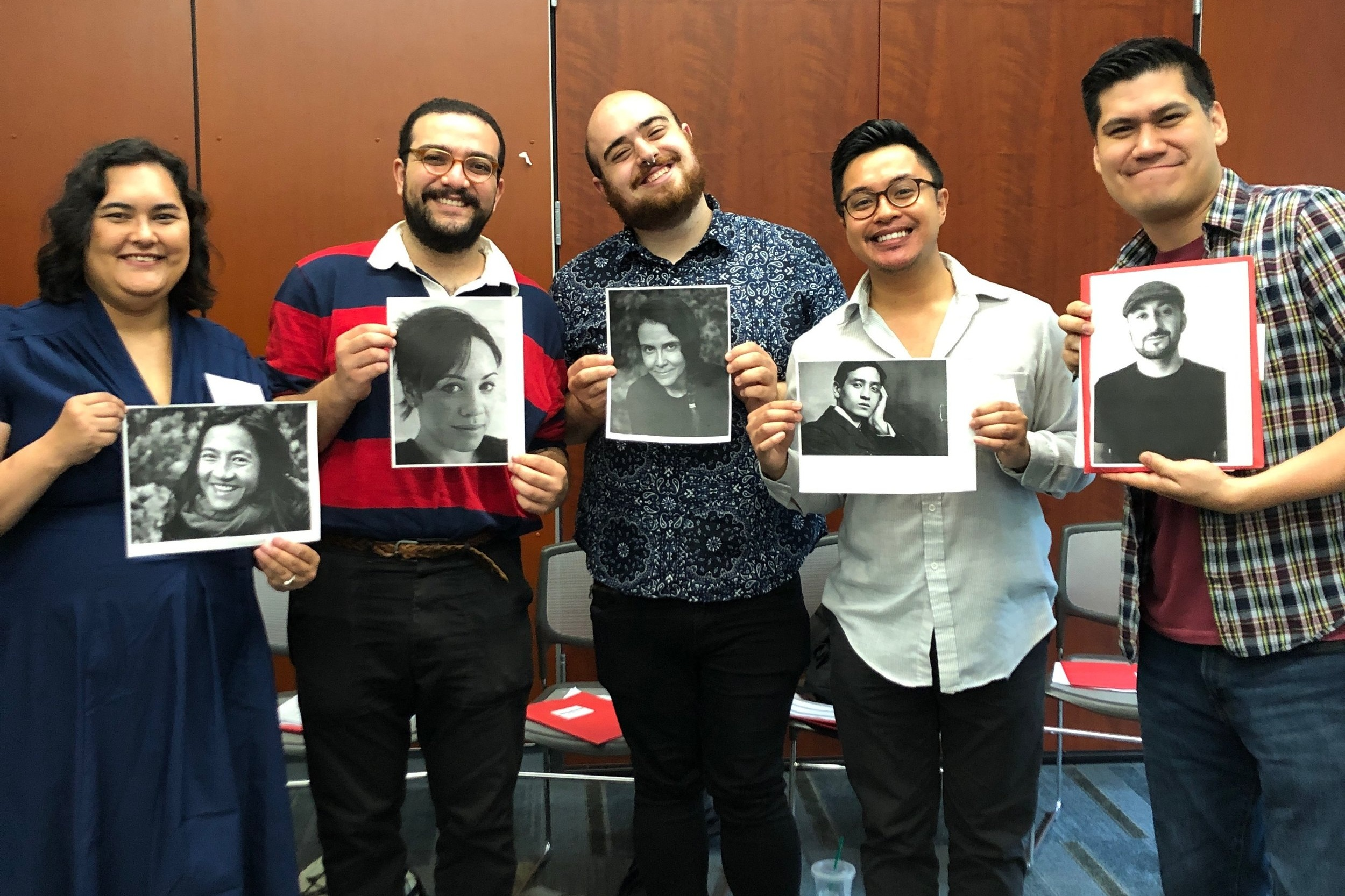 Jasmine Sawers, Hazem Fahmy, George Abraham, CJ Llego, and Timothy Moore pose with their Patron Writers!