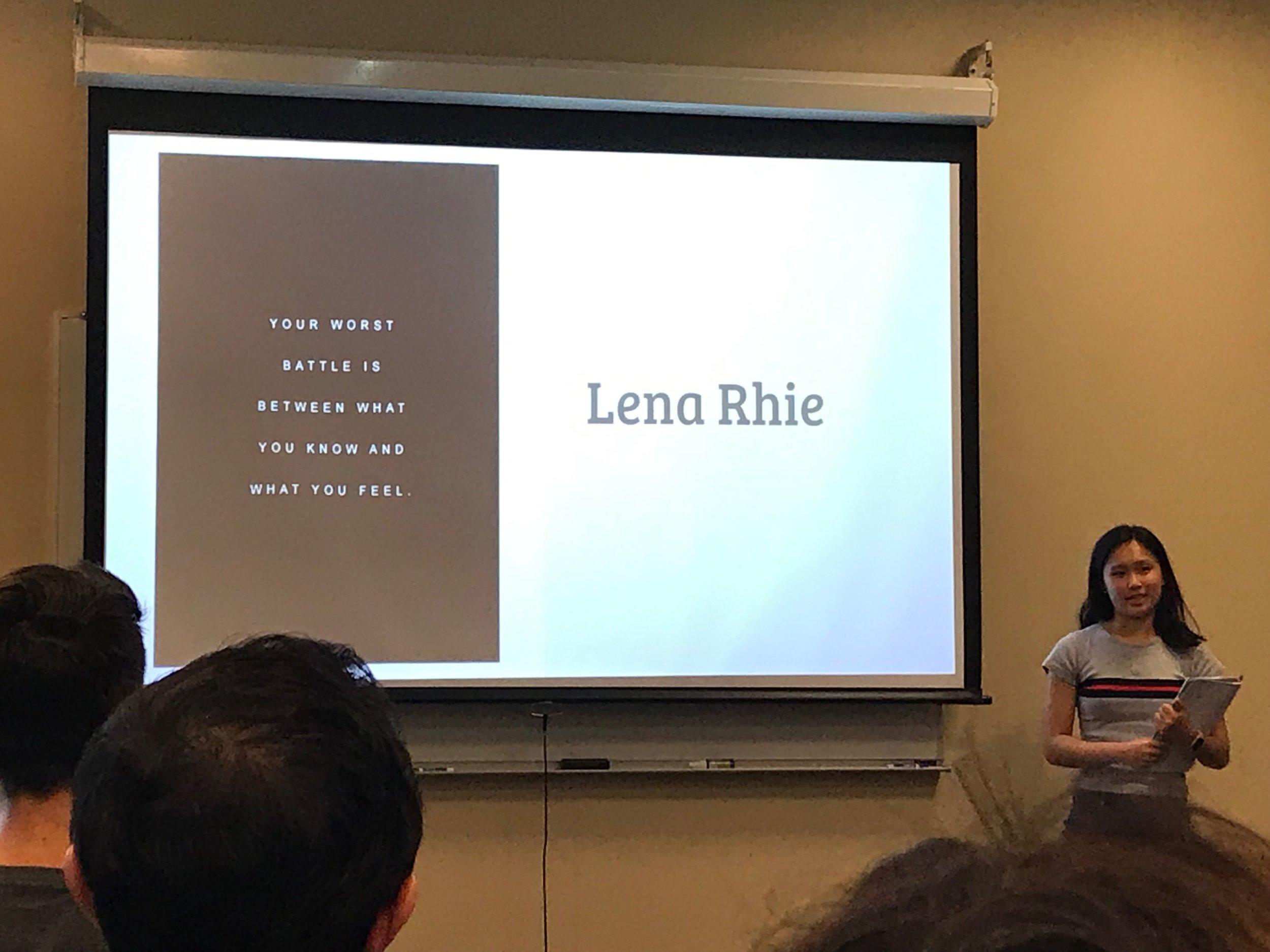 Lena Rhie presents her PechaKucha moment.