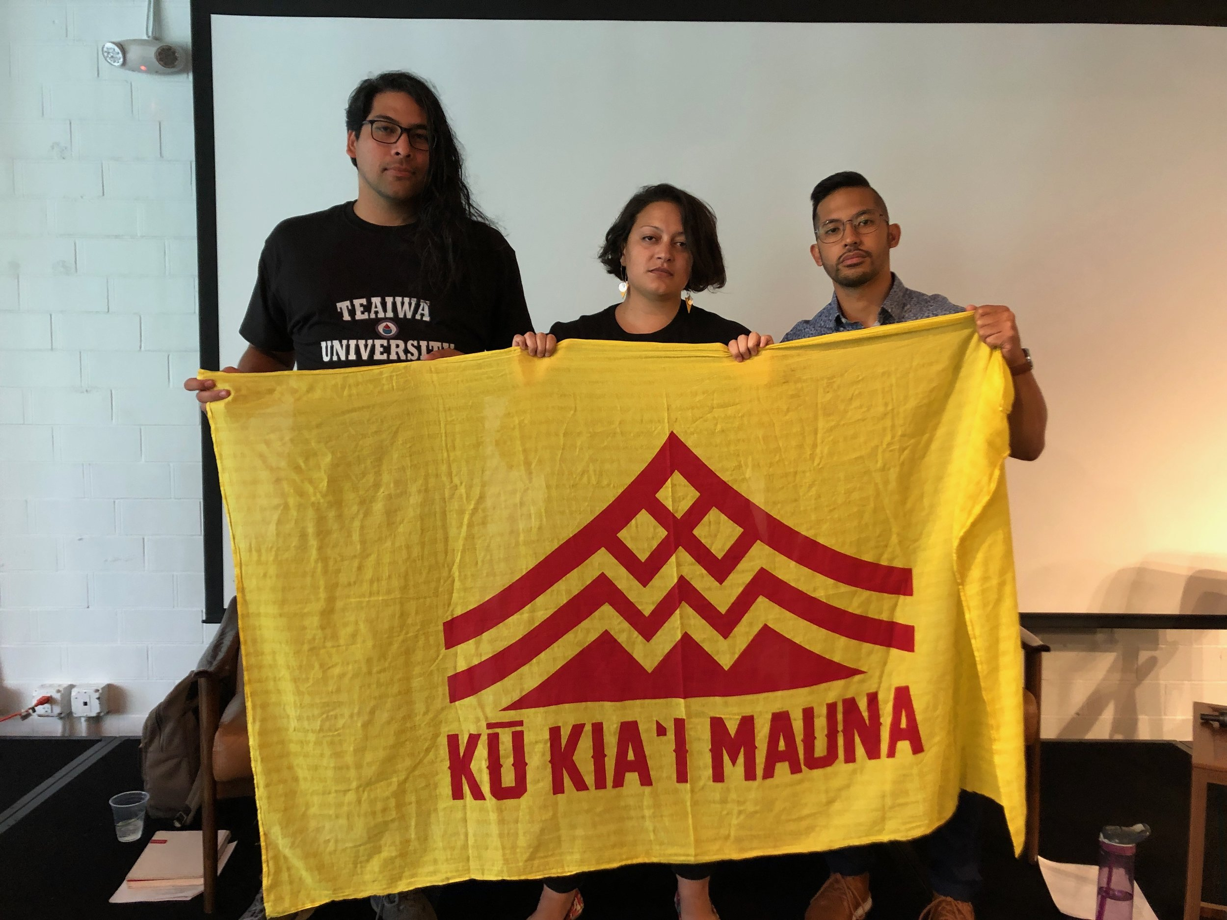 Will ,  Lee , and  Christopher  stand with the protectors of the sacred mountain Mauna Kea.