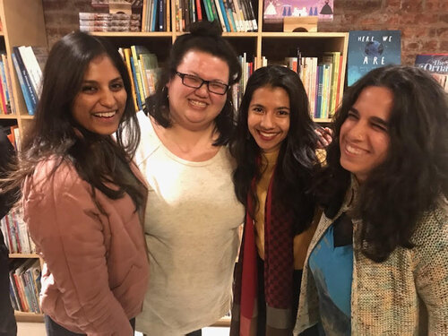 Kundiman Mentorship Lab Fiction Group: Divya Nair, Kimarlee Nguyen, Shrima, & Bushra Rehman.