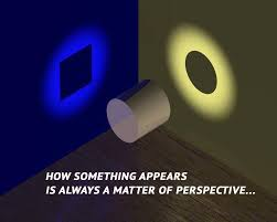 Perspectives: This is a can of soda, in one direction the can projects a square shadow, in another direction it projects a circle shadow.