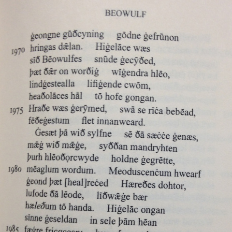 Old English Text from  Beowulf