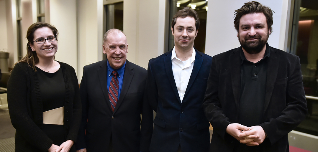 Bugg (right) with winners of undergraduate teaching awards.