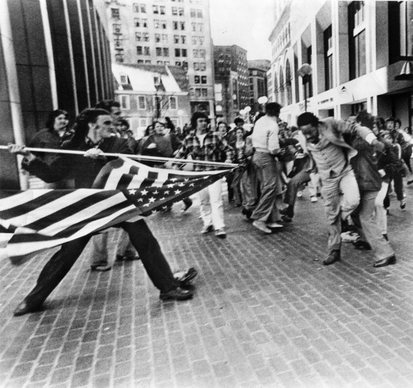 """""""The Soiling of Old Glory,"""" a photo by Stanley Forman ."""