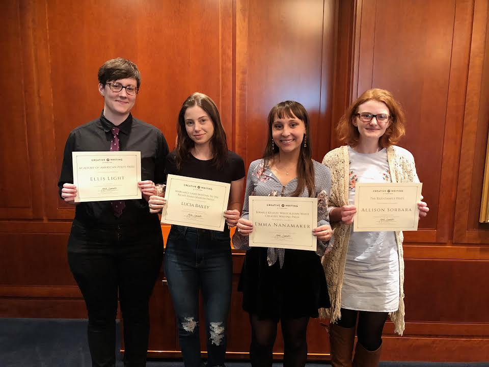 The 2018 Creative Writing Prize winners, Ellis Light, Lucia Bailey, Emma Nanamaker, and Allison Sorbara (left to right).