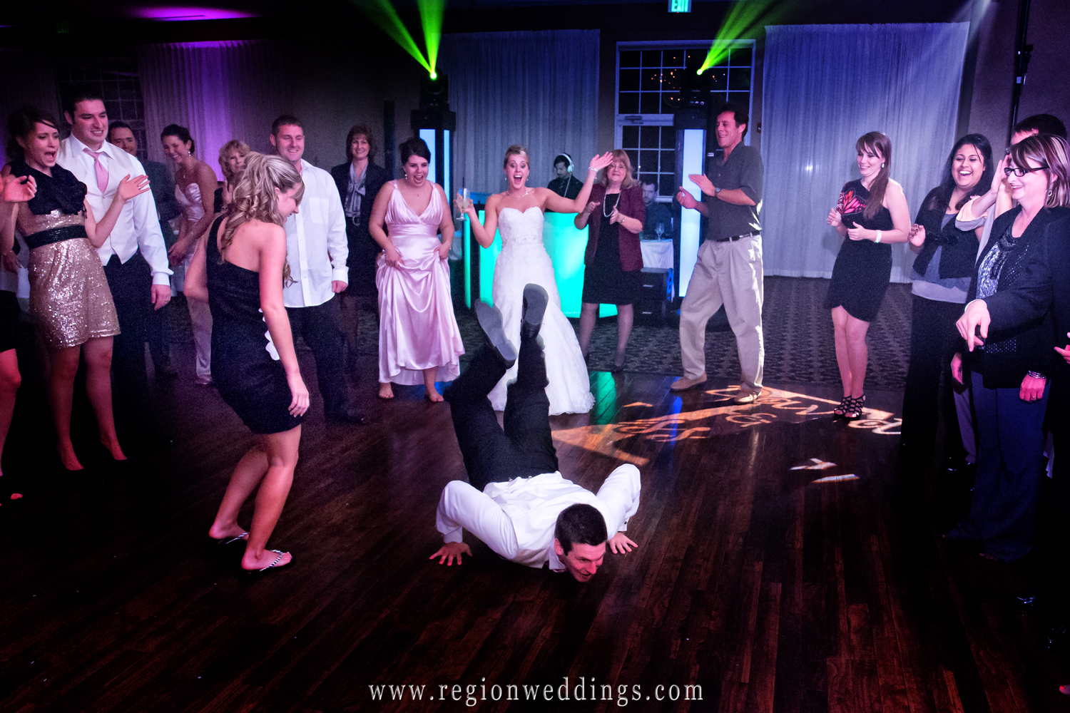 A party breaks out on the dance floor at a wedding reception at Avalon Manor in Northwest indiana.