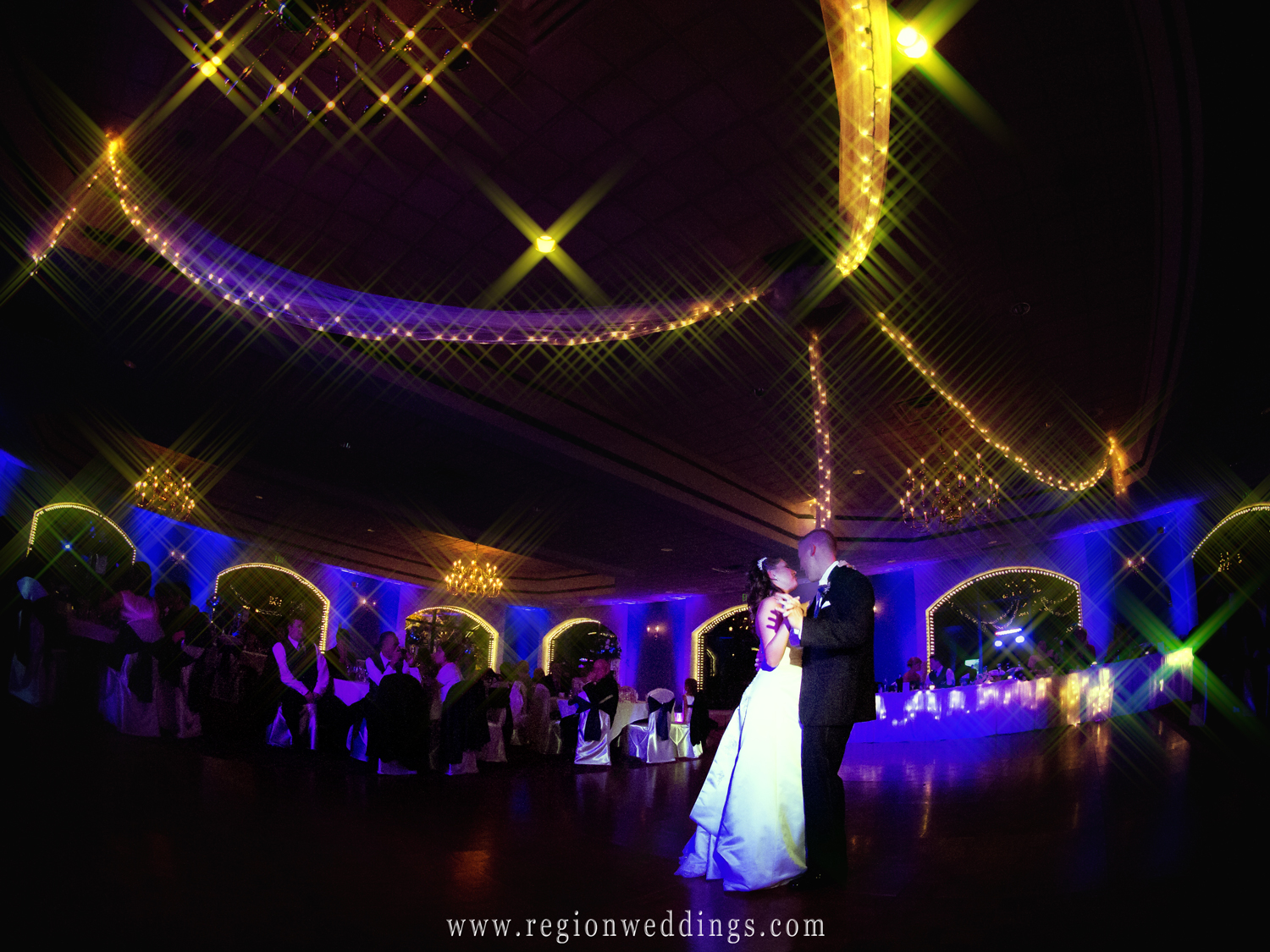 Dancing with the stars style wedding reception at Cloister in the Woods banquet hall in Munster.