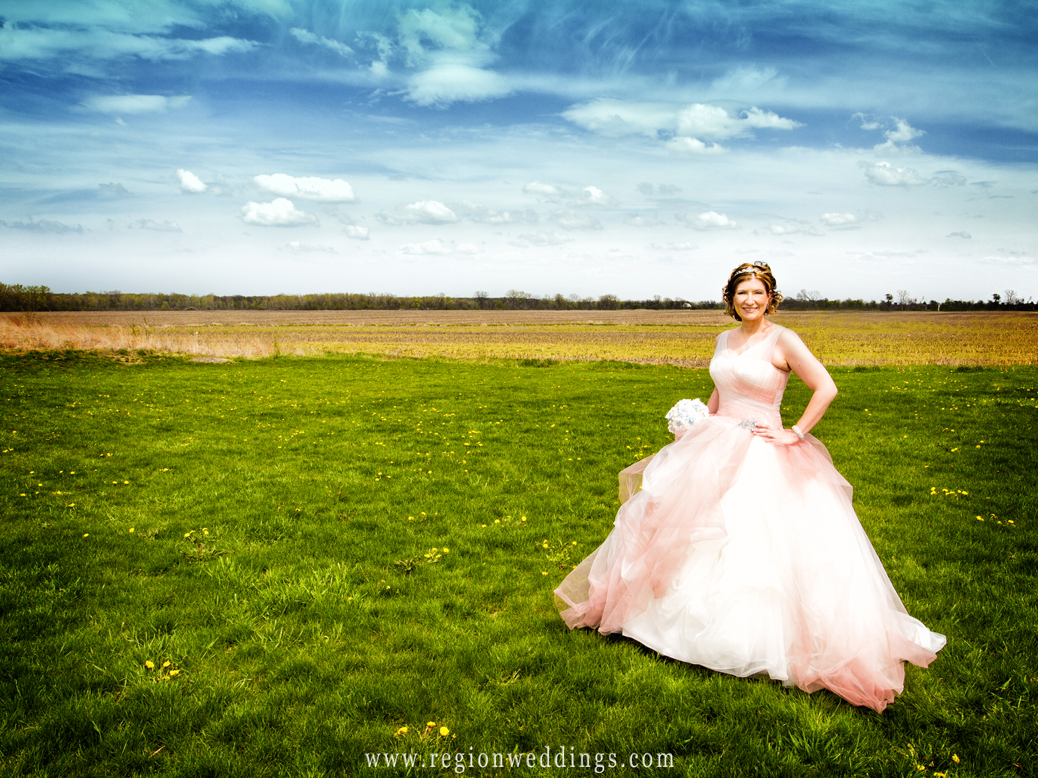Bride poses in her pink hued princess wedding dress in a park in Schererville, Indiana.