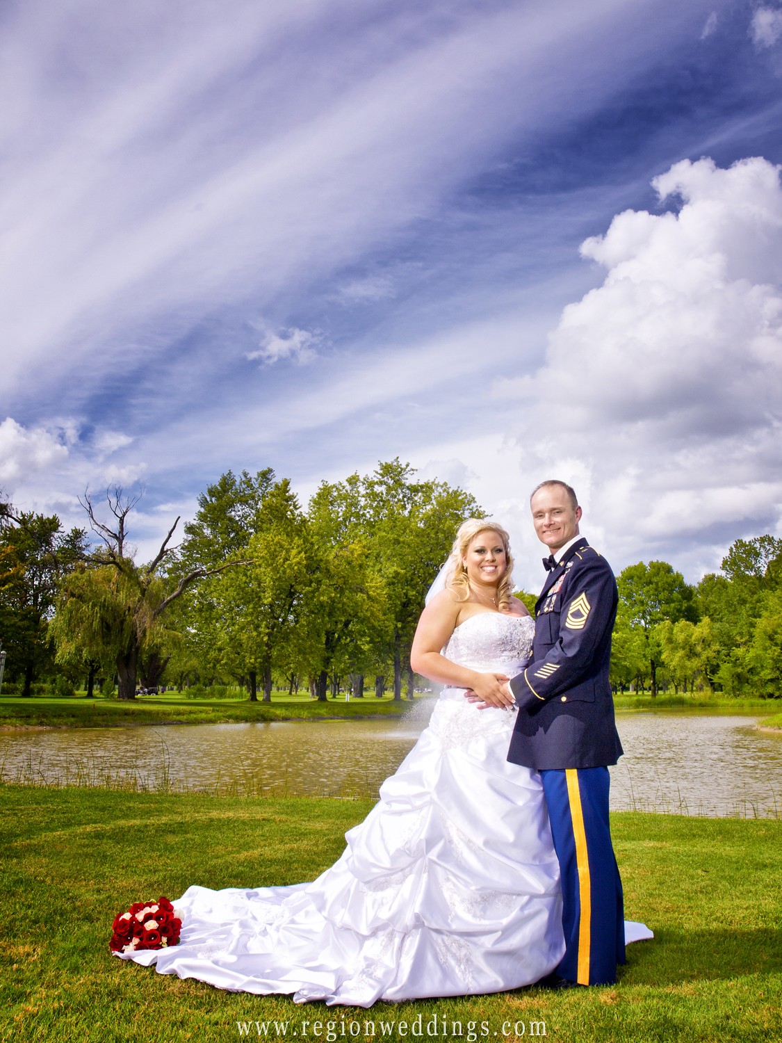 A military bride and groom are reunited for their wedding day at Wicker Park in Highland, Indiana.