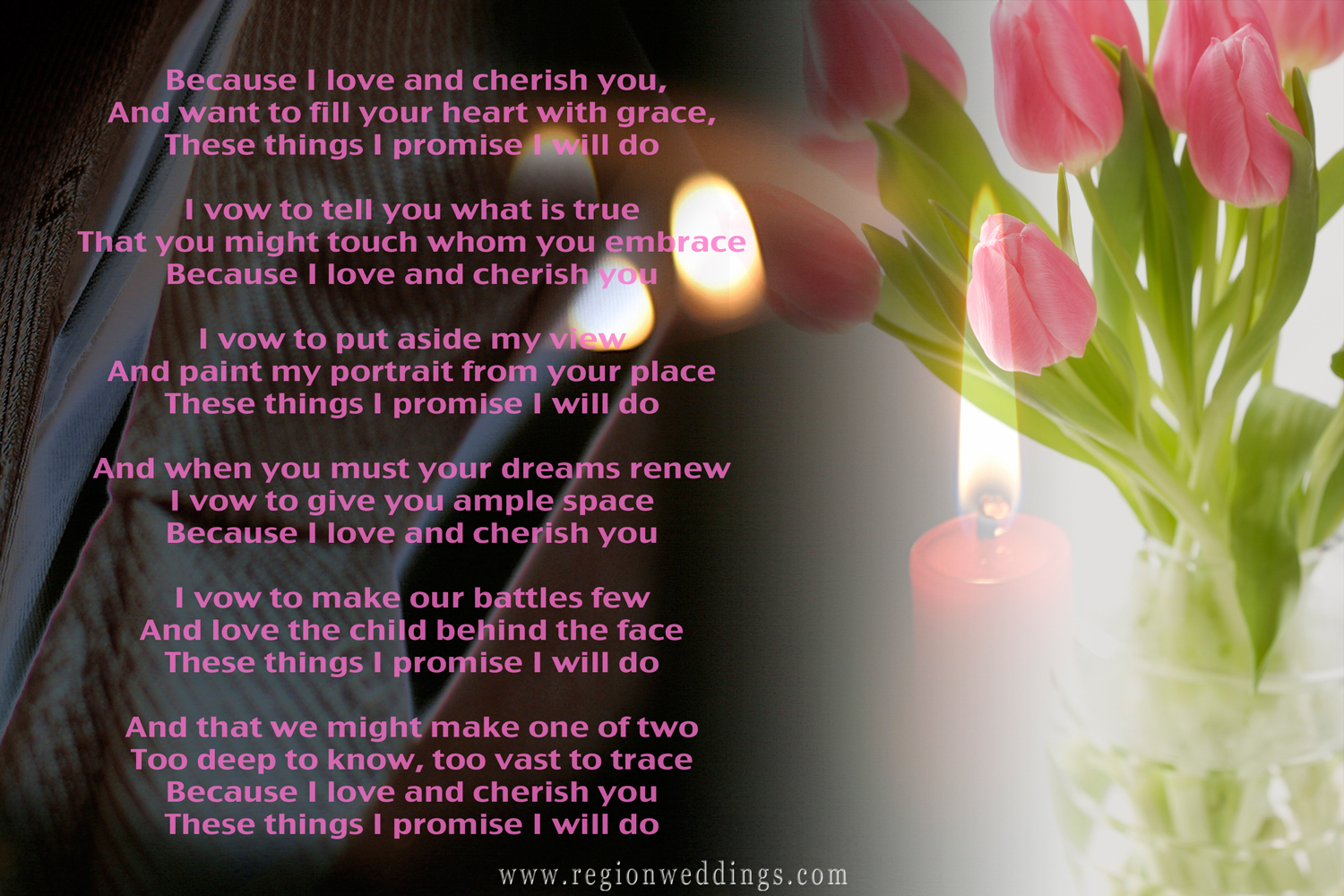 Wedding vows intertwined with wedding photos of candles, flowers and the groom's tuxedo jacket.