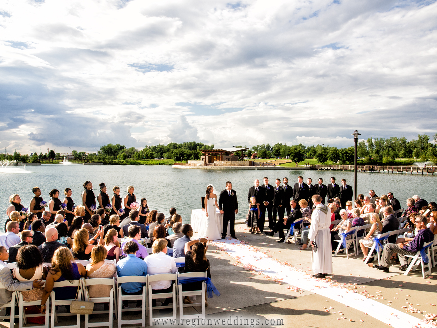 An outdoor wedding ceremony at Centennial Park in Munster, Indiana.
