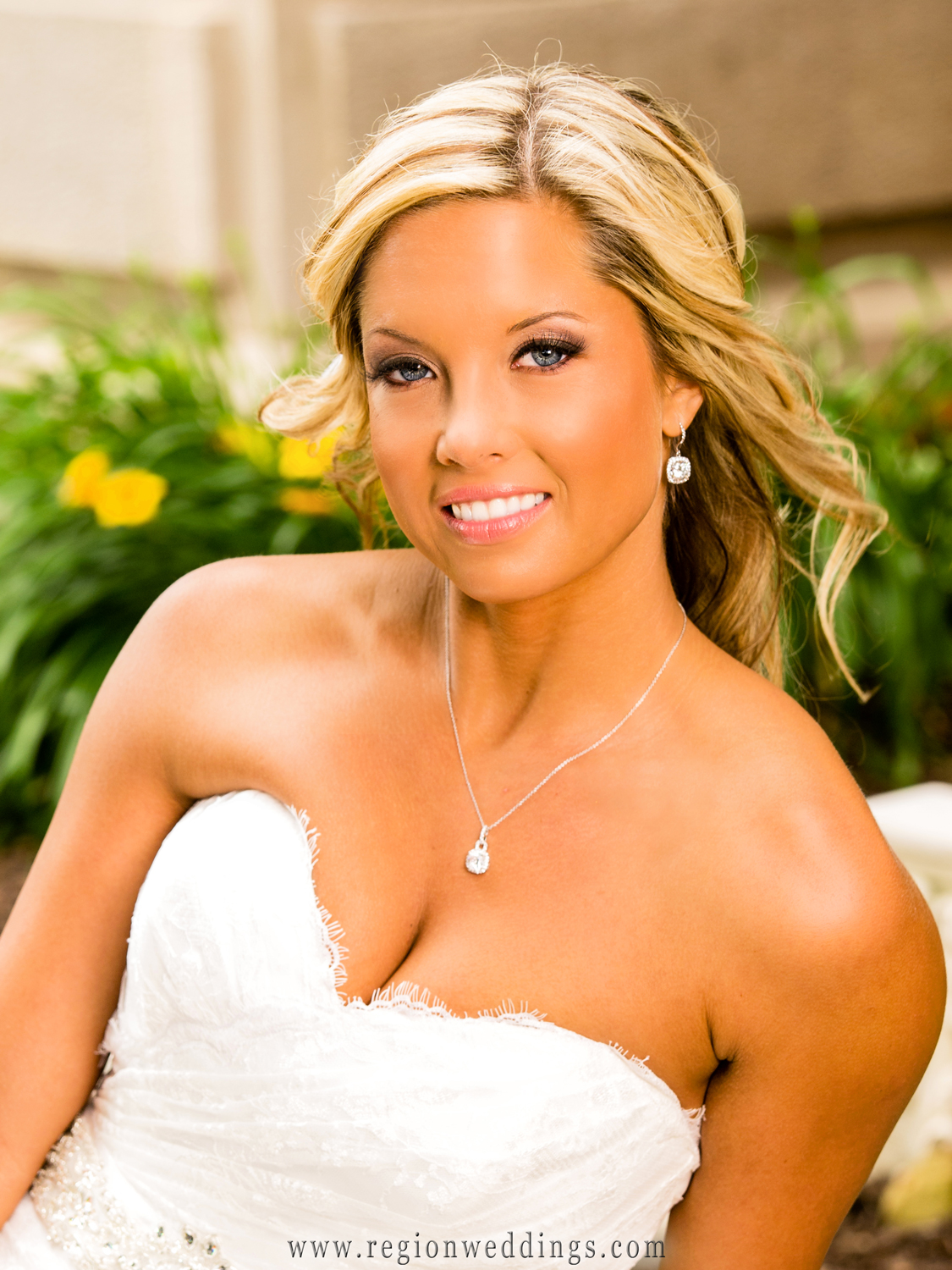 Portrait of a beautiful bride in downtown Crown Point at the old courthouse.