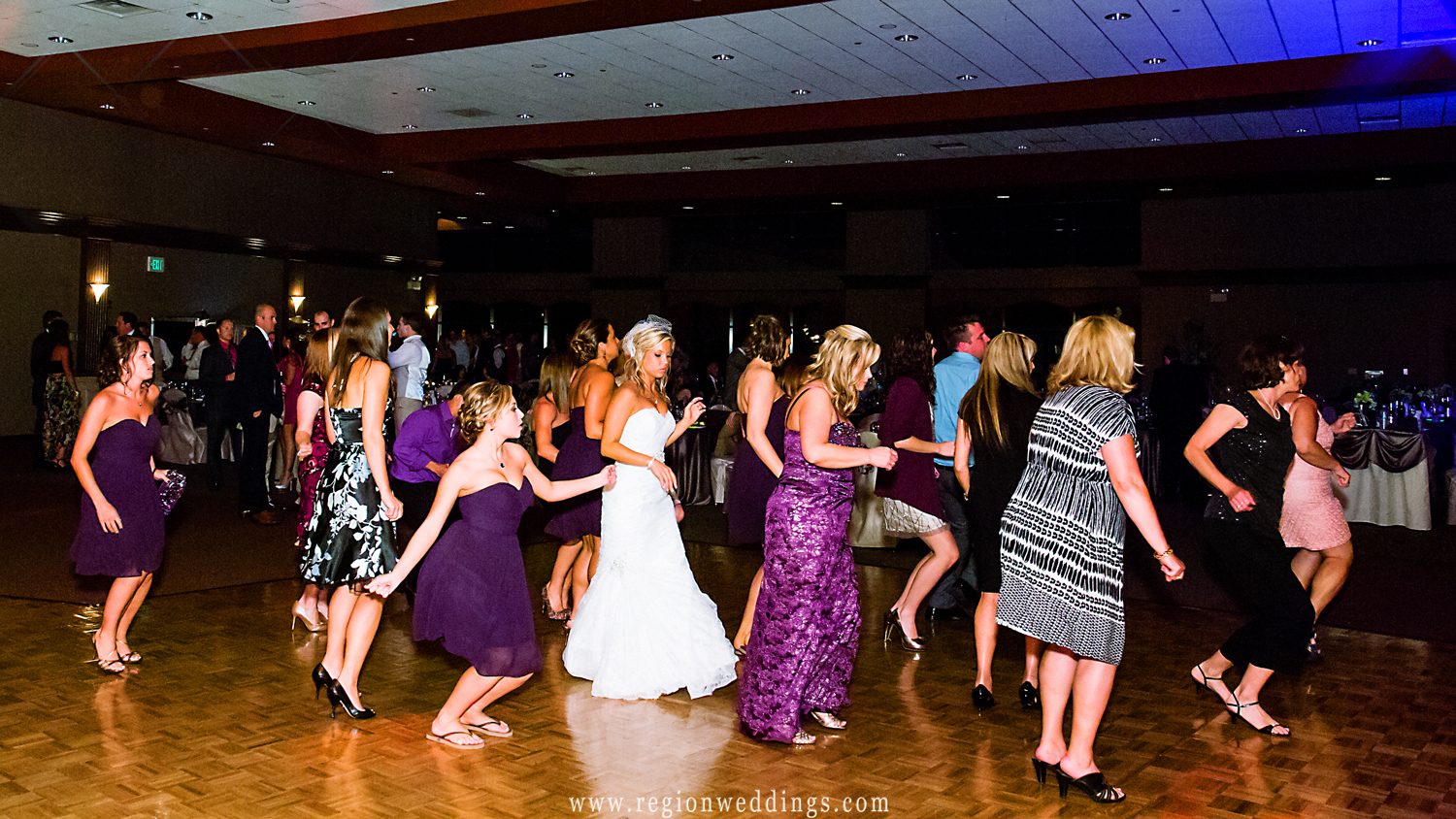 Line dancing during a wedding reception at the Halls of St. George.