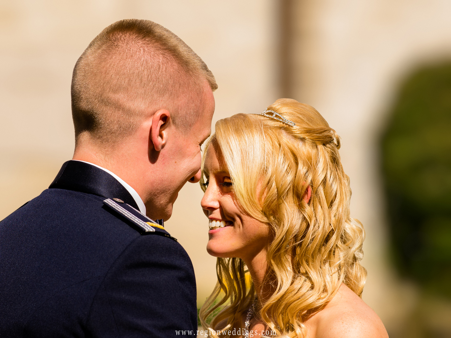 A tender moment between a soldier and his bride just before their Fall wedding ceremony.