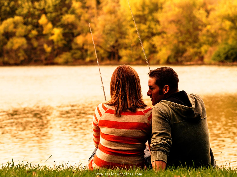 A couple fishes on the edge of Lemon Lake.