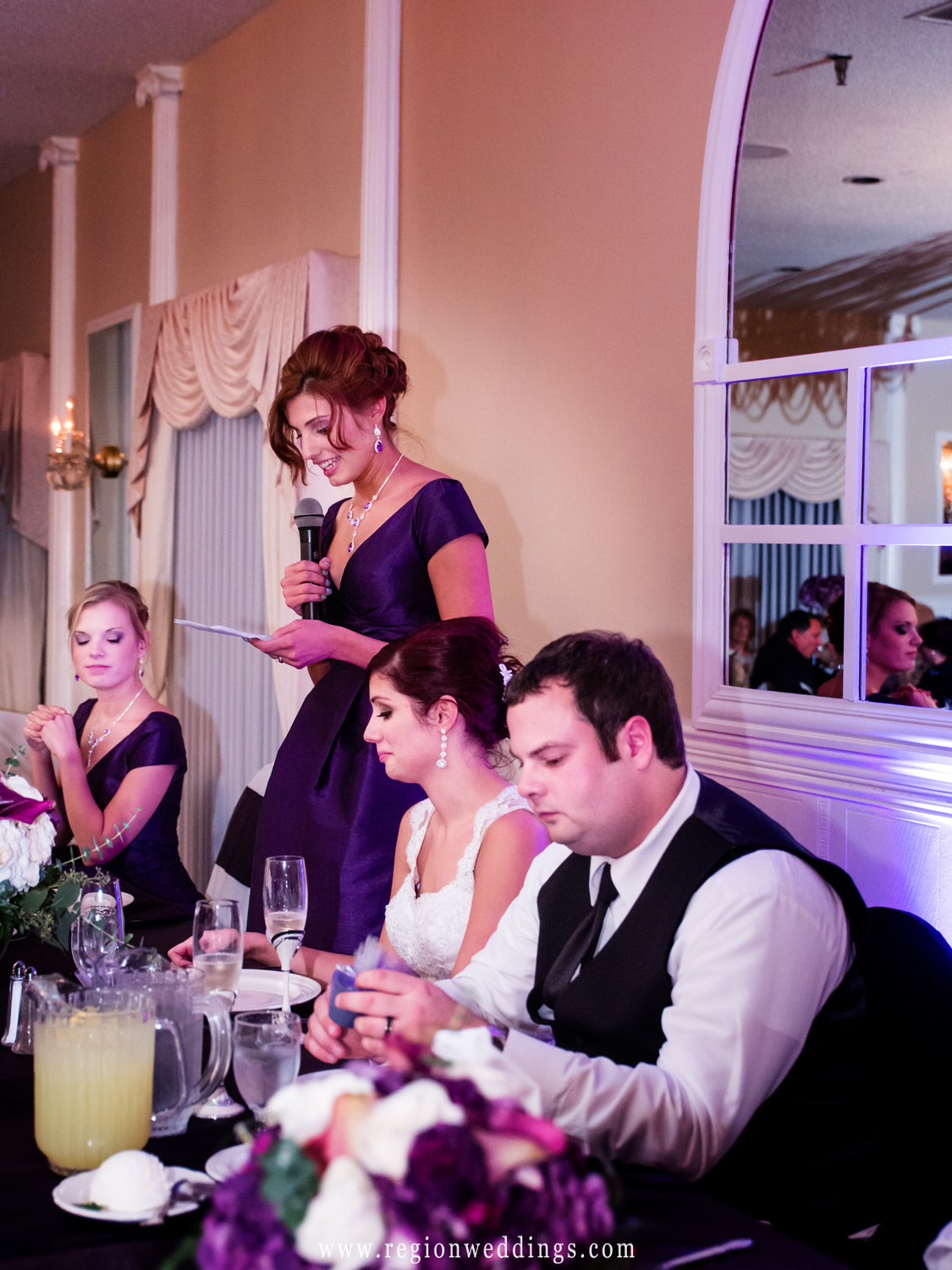 The matron of honor delivers her speech at her sister's wedding reception at Dream Palace.